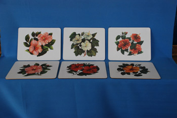 Table Mat Hibiscus - 8 x 10 $9678.30/Set of 6, Coasters (5 x 4) $5255.52/Set of 6